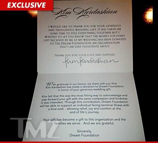 Kim Kardashian Wedding Gift: Kim Kardashian Donates $200K -- Twice The Value Of Her