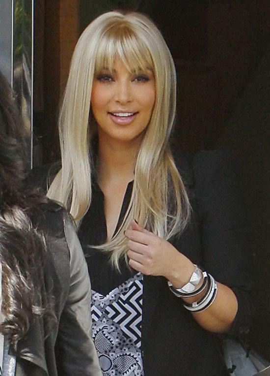 Kim Kardashian Rocks Platinum Blonde Wig In Los Angeles