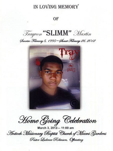 Trayvon MartinS Memorial Program From His Funeral