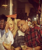 Rihanna with her grandparents Dolly and Lionel Brathwaite