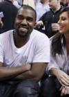 Kanye West & Kim Kardashian at Miami Heat vs. New York Knicks basketball game