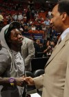 Lil Wayne and ESPN personality Stephen A. Smith at Miami Heat vs. New York Knicks basketball game