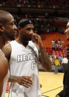 Carmelo Anthony with LeBron James & Dwyane Wade at Miami Heat vs. New York Knicks basketball game
