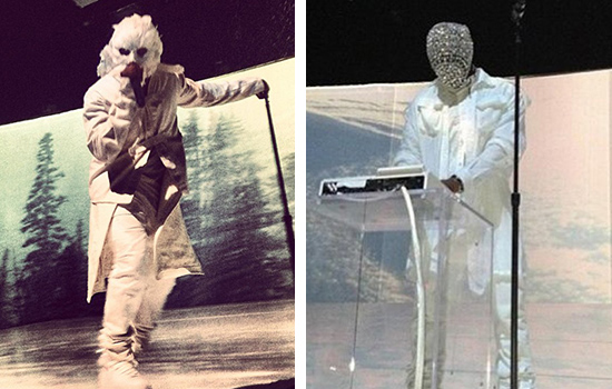 Kanye West Dons Masks Made of Feathers and Crystals for ... Kanye West Diamond Mask