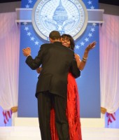 President Barack and First Lady Michelle Obama dance while Jennifer Hudson sings at 2013 Inaugural Ball
