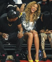 Jay-Z, Beyonce & Angela Beyince at the 2013 NBA All-Star Game