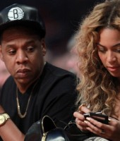Jay-Z and Beyonce at the 2013 NBA All-Star Game