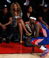 Jay-Z, Beyonce and LeBron James at the 2013 NBA All-Star Game