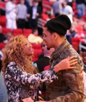 Beyonce and J. Cole at the 2013 NBA All-Star Game