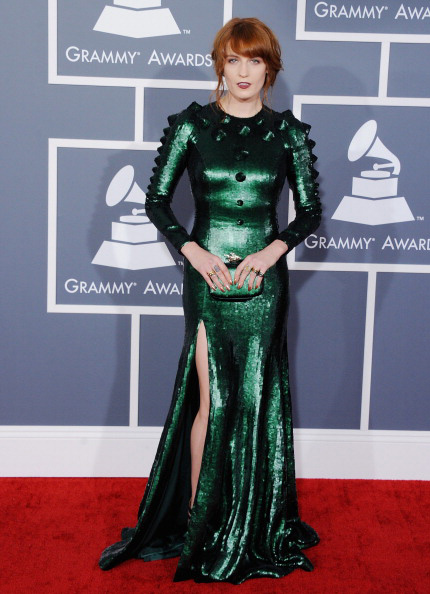 Florence Welch of Florence + the Machine on the red carpet at the 2013 Grammy Awards