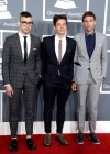 "Musicians Jack Antonoff, Nate Ruess, and Andrew Dost of ""Fun."" on the red carpet at the 2013 Grammy Awards"