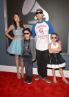 Travis Barker and his kids on the red carpet at the 2013 Grammy Awards