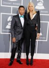Pharrell Williams and his fiancee Helen Lasichanh on the red carpet at the 2013 Grammy Awards