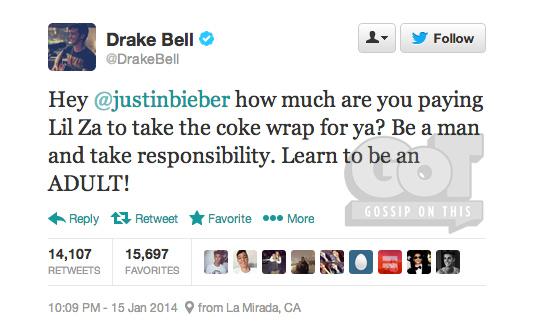 Drake Bell Justin Bieber Beef