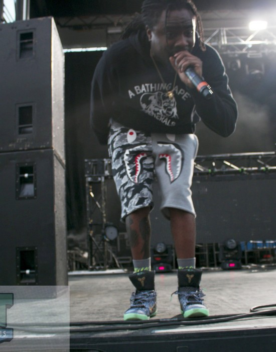 Wale gets up close to the crowd before jumping in during the opening of his set