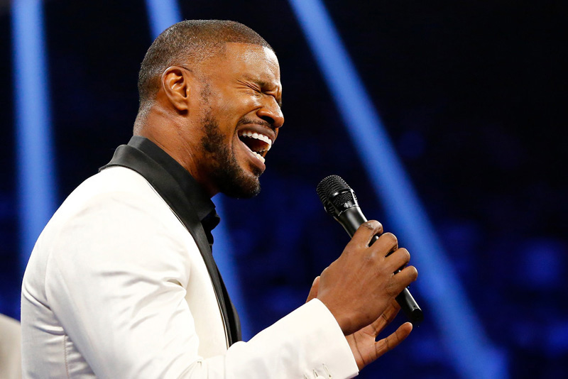 Jamie Foxx performing the National Anthem at the Floyd Mayweather vs. Manny Pacquiao Fight in Las Vegas