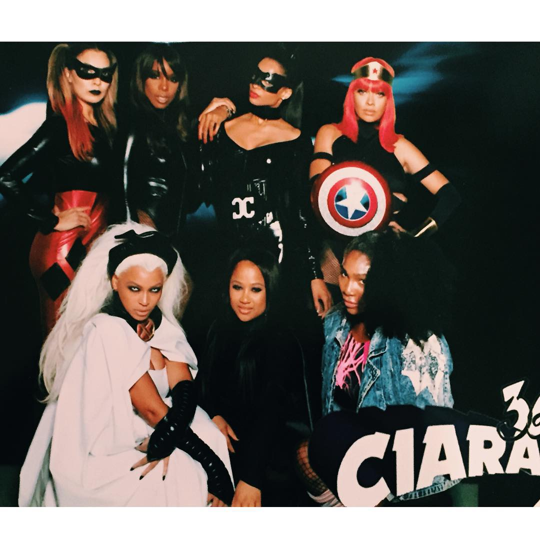 Ciara & Friends (Beyoncé, Kelly Rowland, Serena Williams, La La Anthony, Angela Beyince) at her 30th birthday party