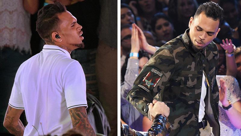 Swell Chris Brown Debuts Brand New Perm At Iheartradio Music Awards Short Hairstyles For Black Women Fulllsitofus