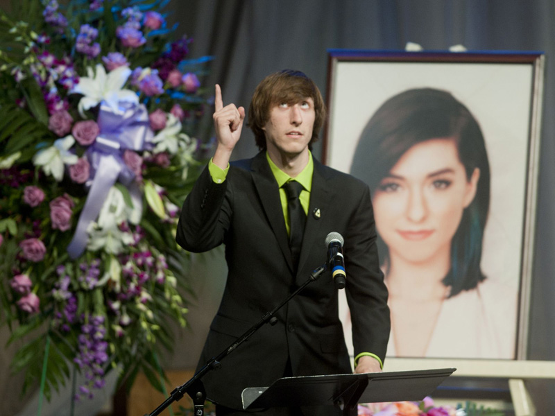 Marcus Grimmie, Christina's brother, speaks at her public memorial service.