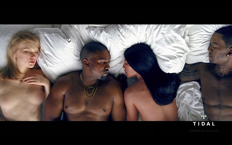 Kanye West Is Naked In Bed With -1336