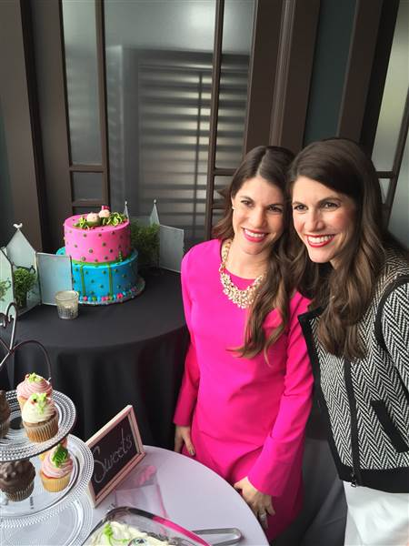 Identical twin sisters Sarah Mariuz and Leah Rodgers at their joint baby shower.