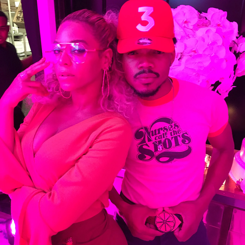 Beyoncé and Chance the Rapper at her Soul Train Themed 35th Birthday Party