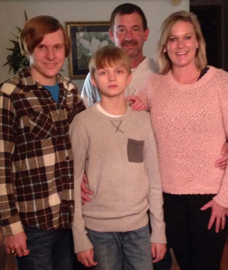 Jesse Osborune pictured with his parents and older brother Ryan Brock (who has a different father).
