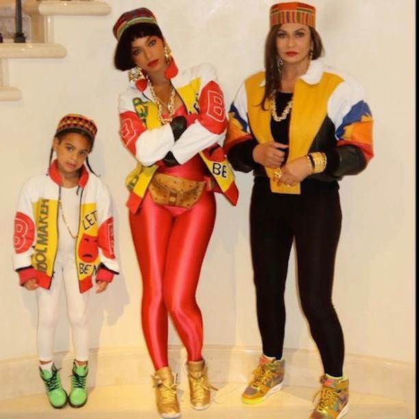 "Blue Ivy, Beyoncé and Miss Tina Knowles Lawson as ""Salt-N-Pepa"" for Halloween (2016)"