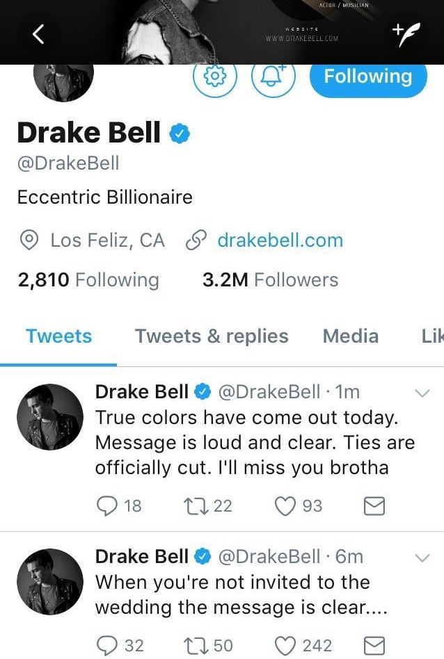 Drake Bell Tweets About Not Getting Invited to Josh Pecks Wedding