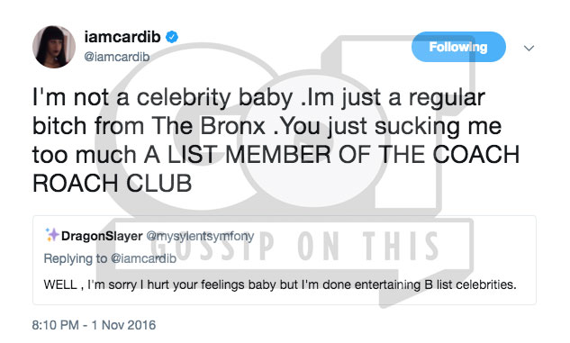 Cardi B Claps Back On Twitter After Being Dragged For Calling Black