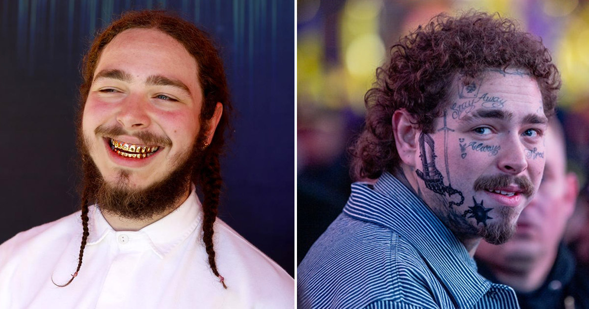 Post Malone Before His Tattoos: Post Malone Says He Got All Of His Face Tattoos Because He