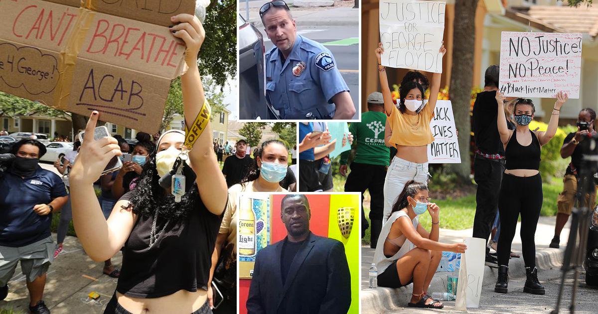 Protesters Swarm Killer Cop Derek Chauvin's Florida Home ...Derek Chauvin